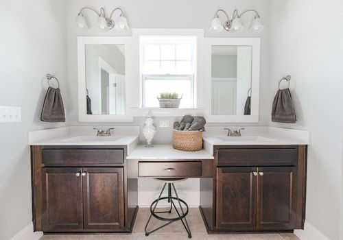 New home master bathroom by Bill Clark Homes