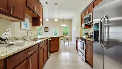 Brown Kitchen Cabinets with Stainless Steel Appliances - Reunion Place - DSLD Homes Biloxi