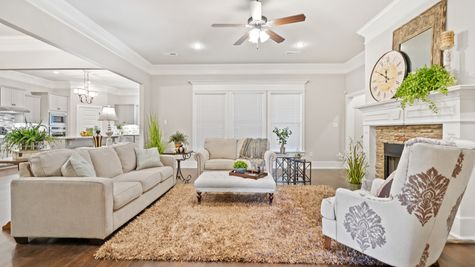 Fillmore IV H Floor Plan - DSLD Homes - Large living room with open layout and fireplace