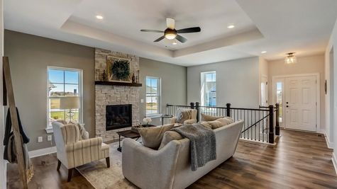 1391 Overlook Circle, great room and entryway - Halen Homes