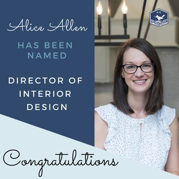 <p>We are proud to announce Alice Allen has been named Director of Interior Design!&#127881;<br/><br/>Alice has been with Harris Doyle Homes for ten years and has been a valuable member of our team. Congrats Alice, we are lucky to have you!<br/><br/>Please join us in congratulating her in the comments!<br/></p>