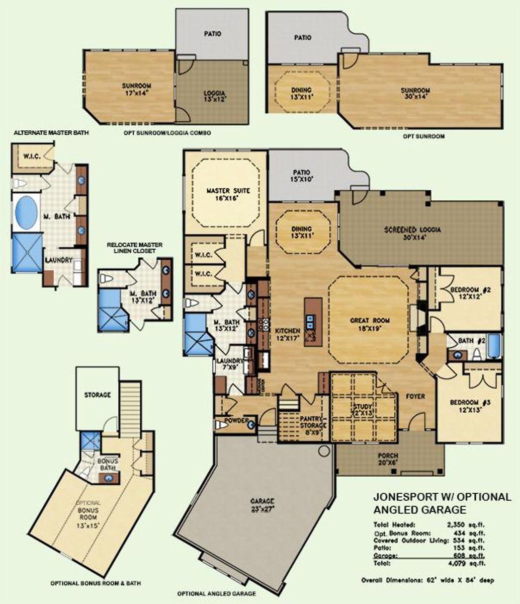 Jonesport, Floor Plan w/ Optional Angled Garage