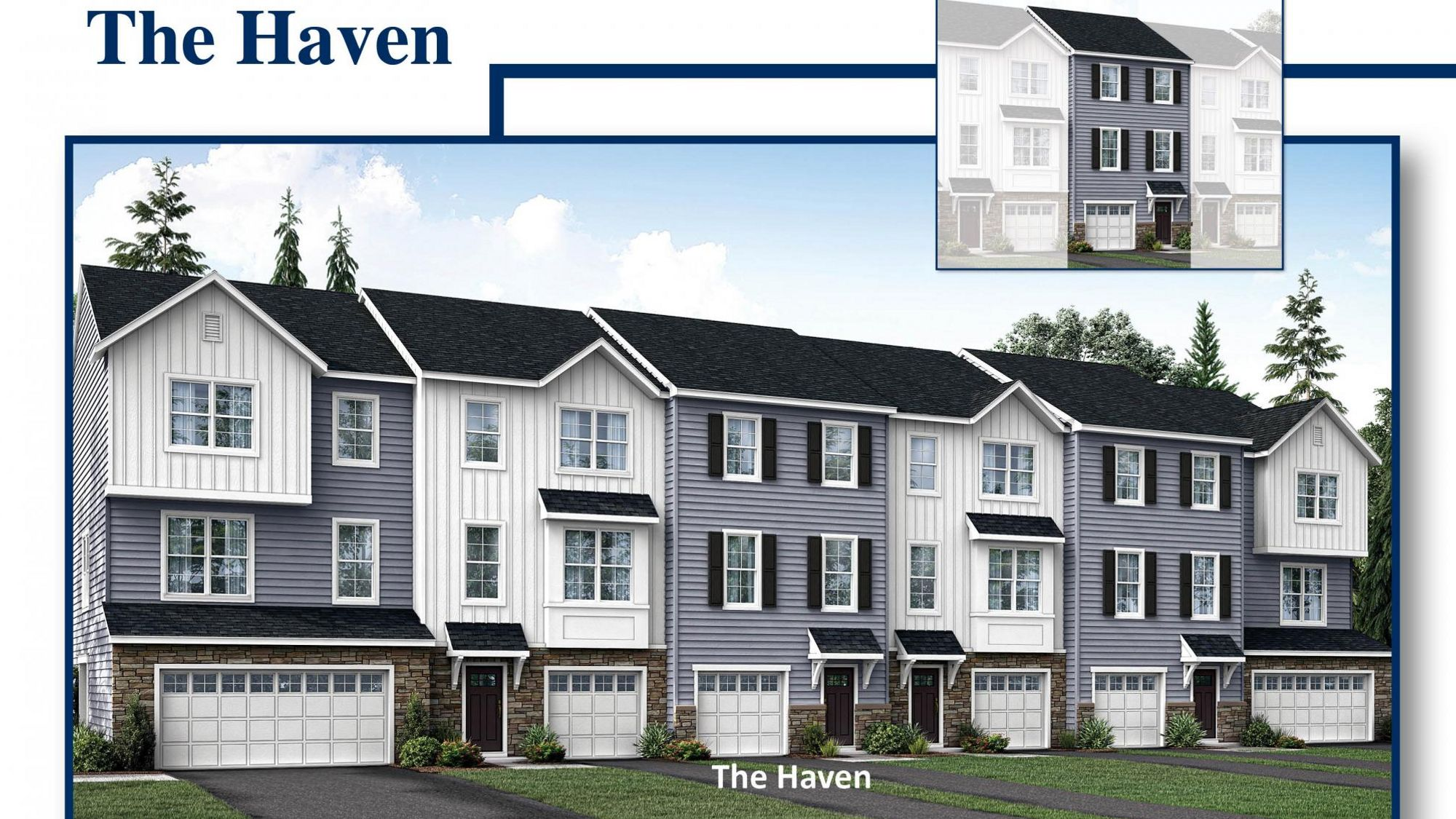 Exterior of the The Haven model new townhome in southern NJ, illustrated with 1 car garage, siding, plus stone facing around front door.