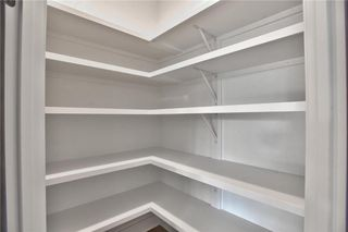 Walk In Pantry with 8 Foot Frosted Glass Doors and Floor to Ceiling Shelving. Picture is of Actual Home.