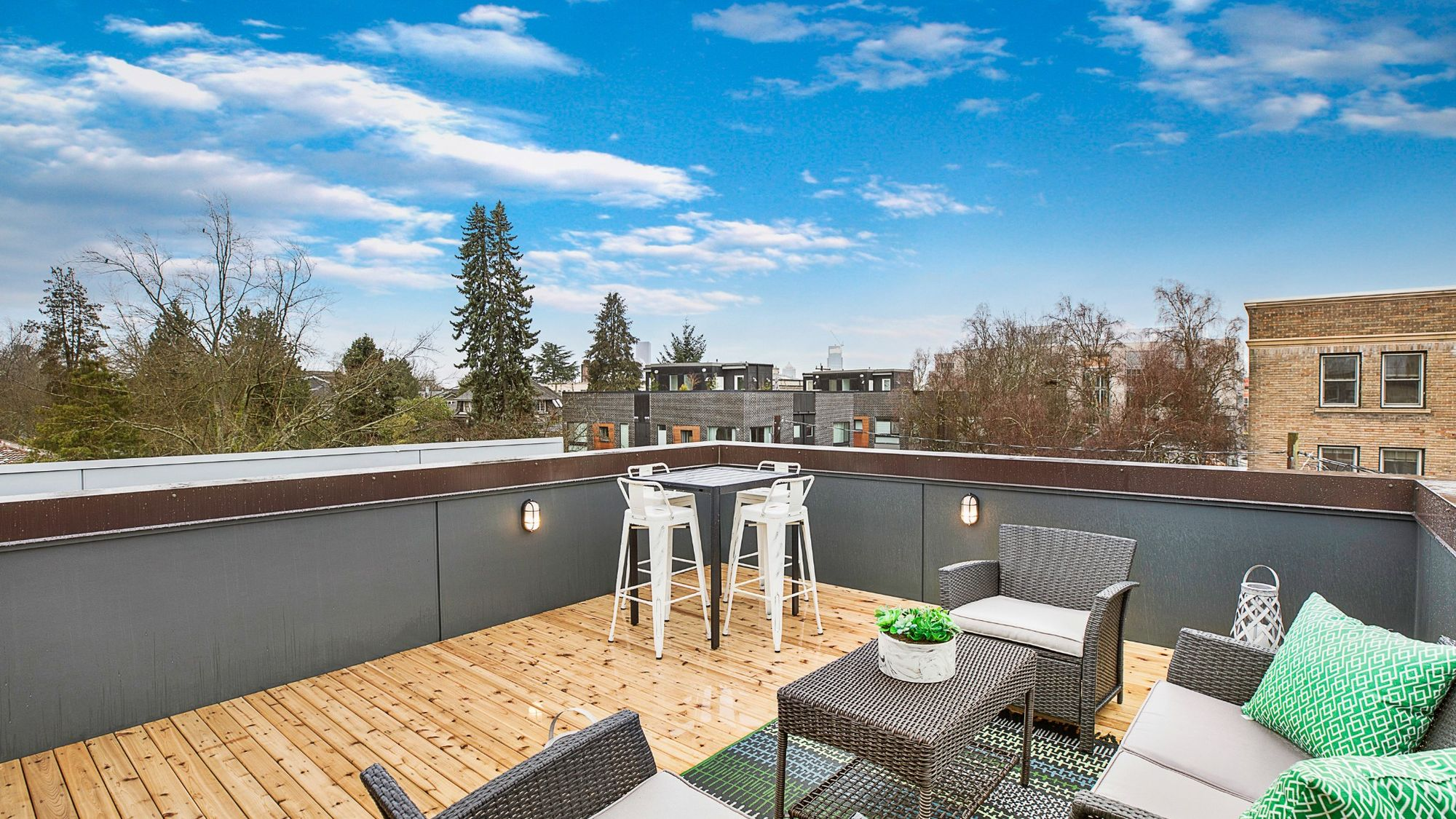The Foster Staged Roof Deck by Sage Homes Northwest