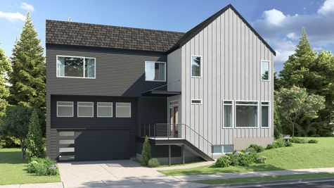 The Exterior Elevation of the Eames at 15239 Fremont Ave North at the Savoye in Shoreline by Sage Homes Northwest