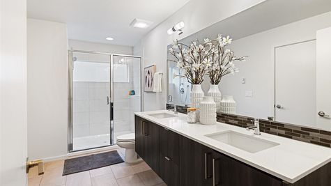 Primary Bathroom of the Fuller townhome by Sage Homes Northwest