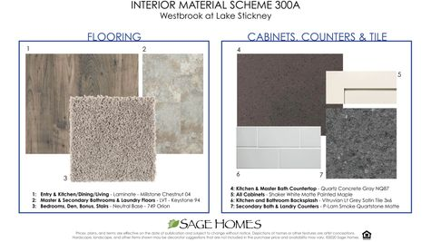 Interior Material Scheme 300A at Westbrook in Lynnwood by Sage Homes Northwest