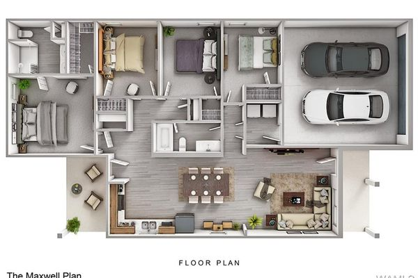 Rendering only. This floor plan including furniture, fixture measurements and dimensions are approximate and for illustrative purposes only. Please contact the listing agent for the full list of interior selections.