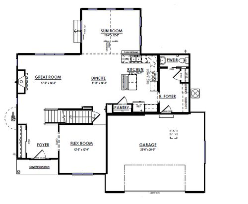 Drawing of First Floor Plan for 803 Liliana Drive, Oregon, WI