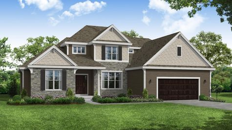 Dunloe French Country Front Elevation Rendering
